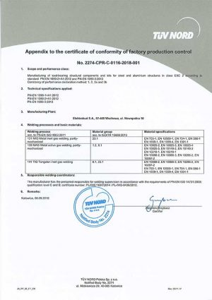 Appendix to the certificate No. 2274-CPR-0116-2018-001